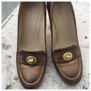 $275 Coach Danna bronze leather shoes pumps 10M